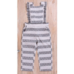 Other - Girls Gray Striped Ruffle Romper Overalls